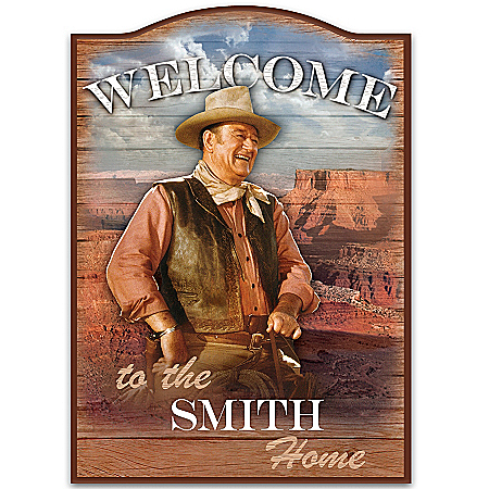 John Wayne Personalized Welcome Sign Wall Decor