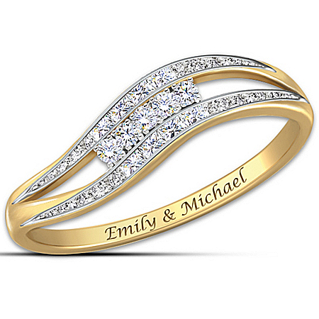 Enchantment Personalized 10K Gold and Genuine Diamond Ring