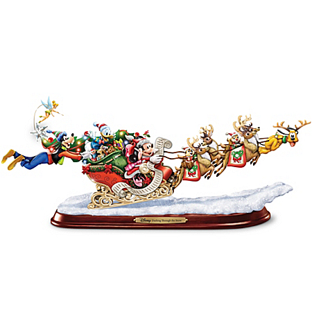 Disney Character Decorative Christmas Sleigh Sculpture: Dashing Through The Snow
