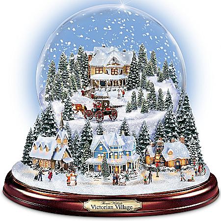Thomas Kinkade Victorian Christmas Village Snowglobe