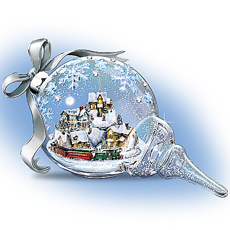 Thomas Kinkade Christmas Hand-Blown Glass Sculpture: Together For The Holidays