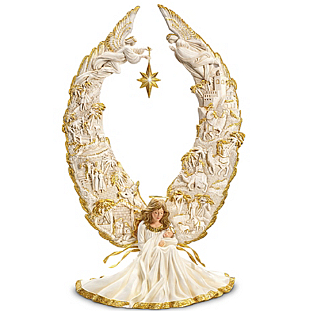 Thomas Kinkade Away In A Manger Nativity Angel Sculpture