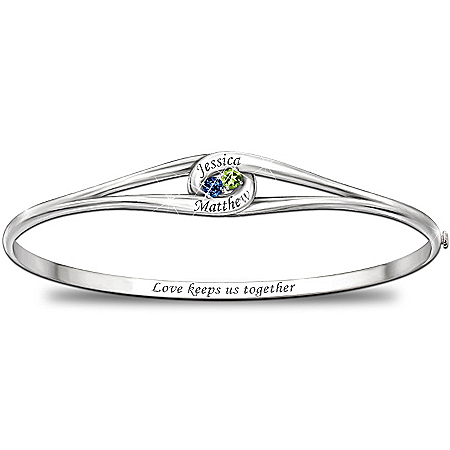 """Joined In Love"""" Personalized Bracelet With 2 Birthstones And 2 Engraved Names"""