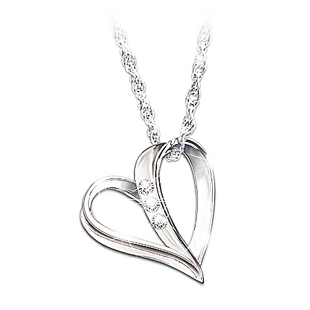 My Granddaughter, My Heart, My Love 3-Diamond Pendant Necklace