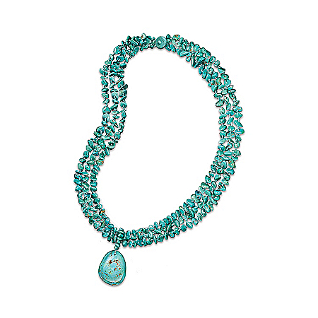 Women's Necklace: True Blue Turquoise Necklace by The Bradford Exchange Online - Lovely Exchange