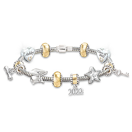 Head Of The Class: Personalized Charm Bracelet For Graduates by The Bradford Exchange Online - Lovely Exchange