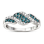 Blue And White Diamond Ring - Cascade Of Beauty