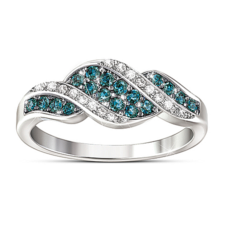 Blue And White Diamond Ring: Cascade Of Beauty