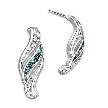 Cascade Of Beauty Blue And White Diamond Silver Earrings