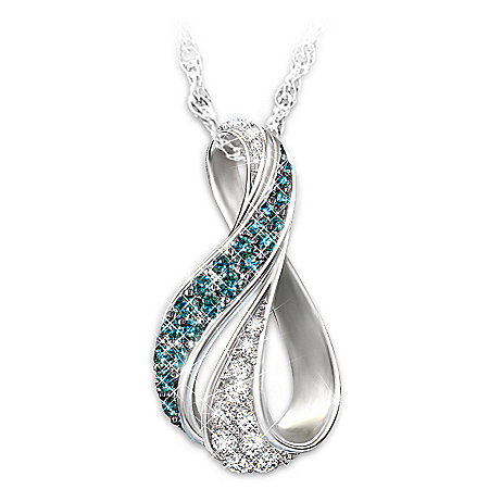 Women's Necklace: Cascade Of Beauty Diamond Pendant Necklace by The Bradford Exchange Online - Lovely Exchange