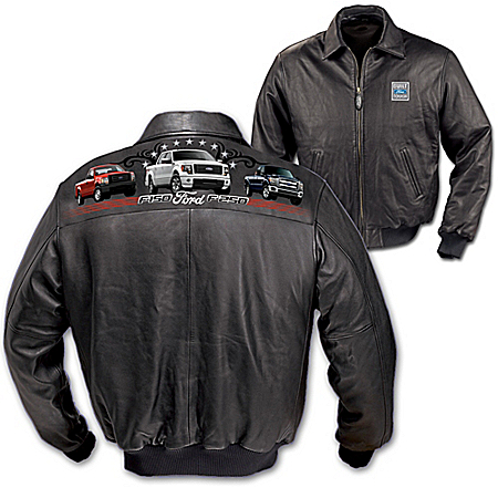 Ford Truck Men's Leather Jacket: Built Ford Tough