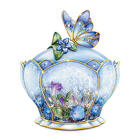 Butterfly Floral Art Heirloom Porcelain Music Box: Whispering Wings by The Bradford Exchange Online - Lovely Exchange