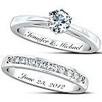 Personalized Women's Diamond Bridal Ring Set - Our Forever Love