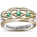 Personalized Emerald Celtic Knot Ring - Unity Of Love