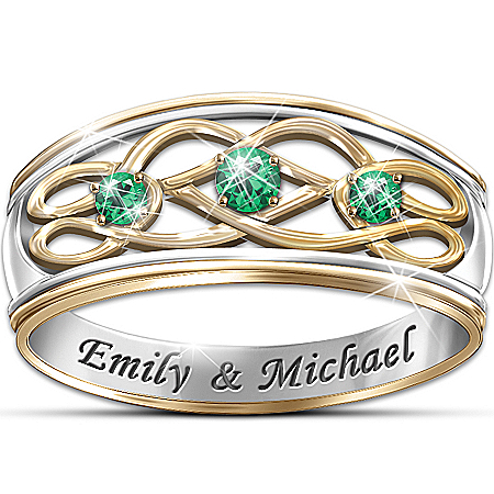 Personalized Emerald Celtic Knot Ring: Unity Of Love – Personalized Jewelry