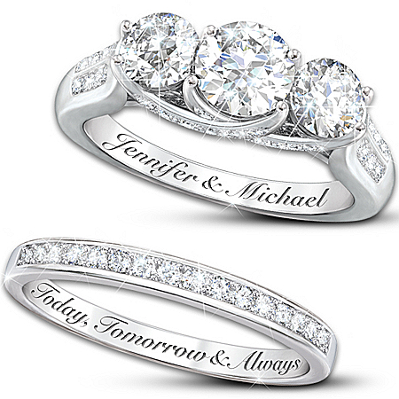 Diamonesk Personalized Engraved Engagement Ring And Wedding Band Set – Personalized Jewelry