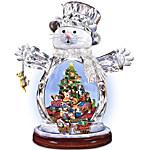 Crystal Snow Cat Christmas Figurine - Purr-fect Holidays
