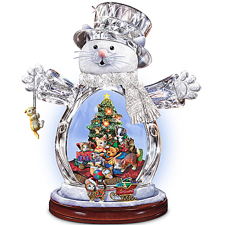 Crystal Snow Cat Christmas Figurine: Purr-fect Holidays