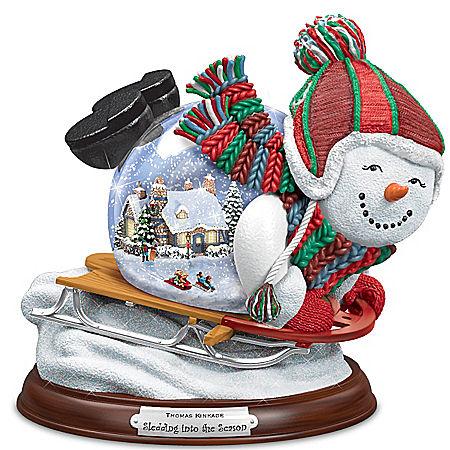 Musical Snow Globes Snowglobe: Thomas Kinkade Sledding Into The Season Snowglobe