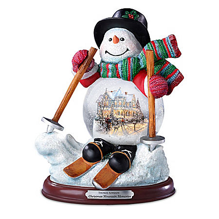 Thomas Kinkade Christmas Mountain Memories Snowglobe