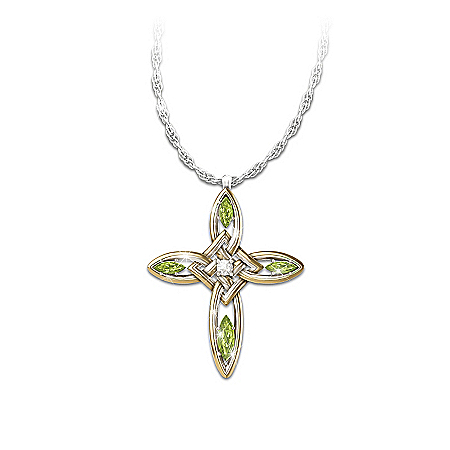Infinite Blessings Peridot & Diamond Cross Pendant Necklace