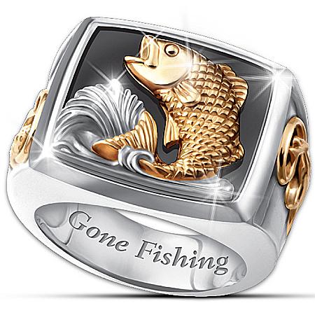 Men's Ring: Gone Fishing Ring by The Bradford Exchange Online - Lovely Exchange