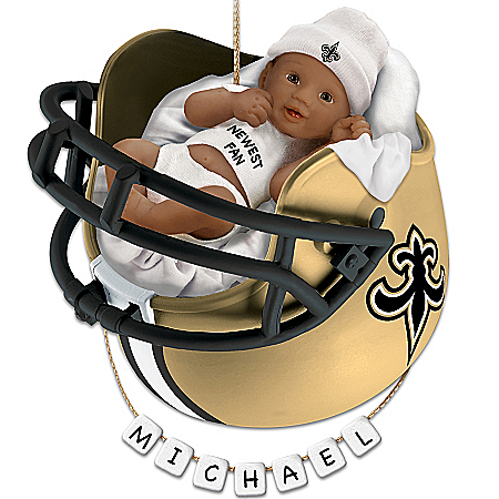 NFL New Orleans Saints Personalized African-American Baby Christmas Ornament