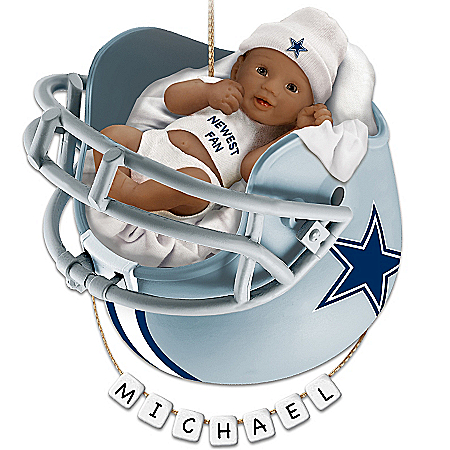 NFL Dallas Cowboys Personalized African-American Baby Christmas Ornament