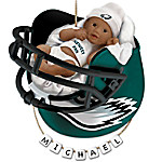 NFL Philadelphia Eagles Personalized African-American Baby Christmas Ornament