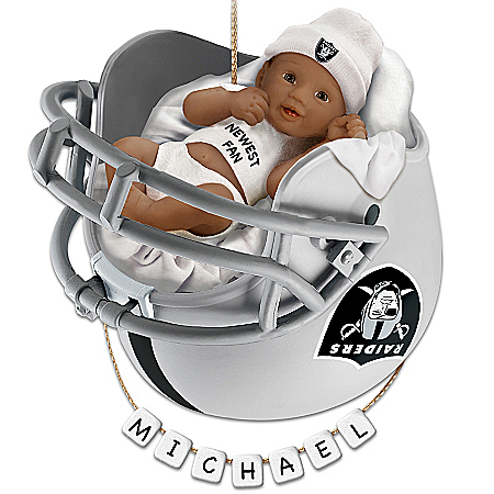 NFL Oakland Raiders Personalized African-American Baby's Christmas Ornament