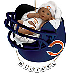 NFL Chicago Bears Personalized African-American Baby Christmas Ornament