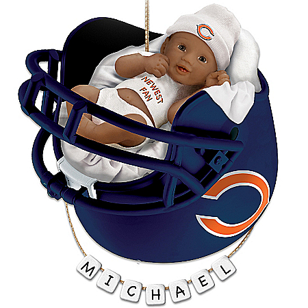 NFL Chicago Bears Personalized African-American Baby's Christmas Ornament