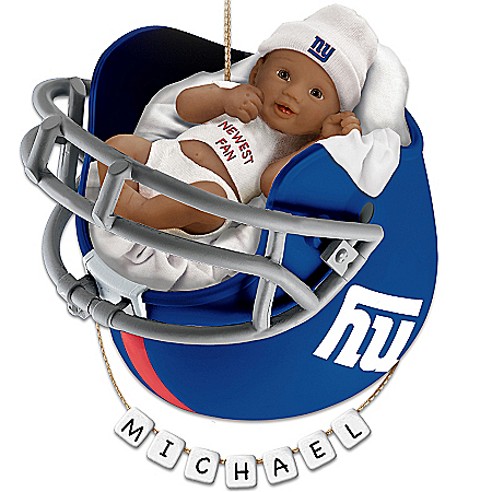 New York Giants Personalized Baby's First Christmas Ornament by The Bradford Exchange Online - Lovely Exchange