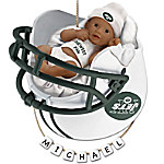NFL New York Jets Personalized African-American Baby Christmas Ornament