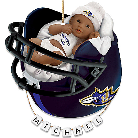NFL Baltimore Ravens Personalized African-American Baby Christmas