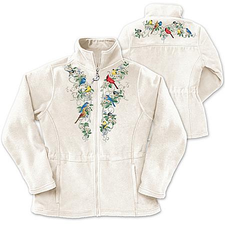 Songbird And Floral Art Women's Fleece Jacket: Nature's Symphony