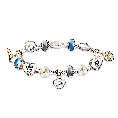 NFL Detroit Lions #1 Fan Charm Bracelet: Go Lions! by The Bradford Exchange Online - Lovely Exchange