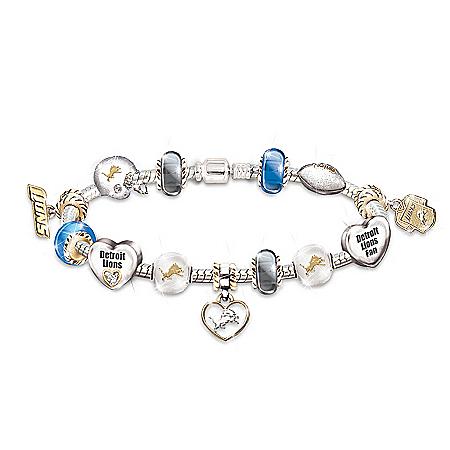 NFL Detroit Lions #1 Fan Women's Charm Bracelet
