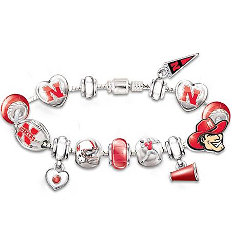Nebraska Cornhuskers #1 Fan Charm Bracelet: Go Cornhuskers!