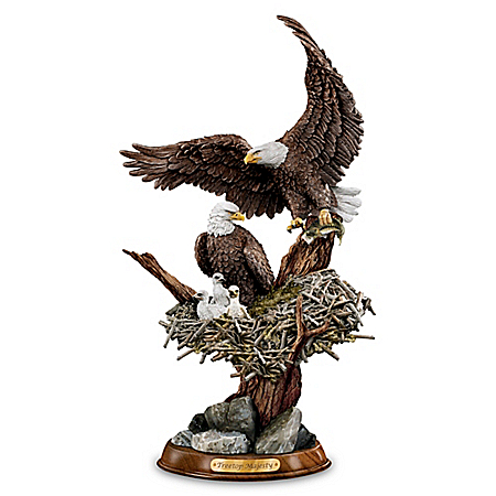 """""""Eagle Cam""""-Inspired American Bald Eagle Sculpture: Treetop Majesty"""