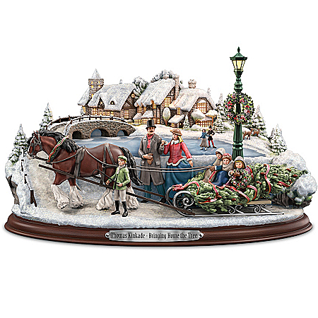 Sculpture: Thomas Kinkade Bringing Home The Tree Sculpture