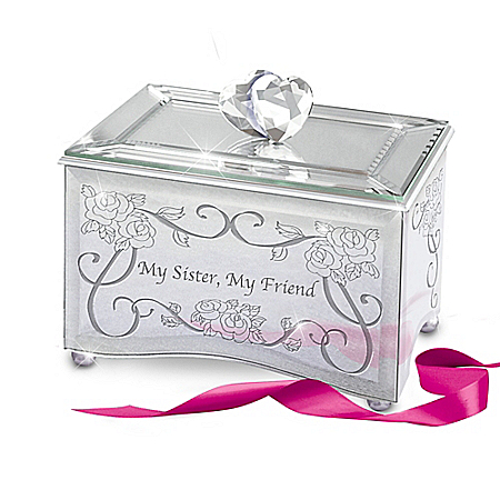 My Sister, My Friend Mirrored Music Box With Heart Topper Plays You've Got A Friend