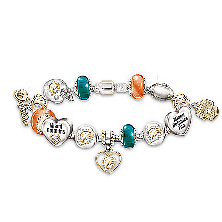 NFL Miami Dolphins #1 Fan Charm Bracelet: Go Dolphins! by The Bradford Exchange Online - Lovely Exchange