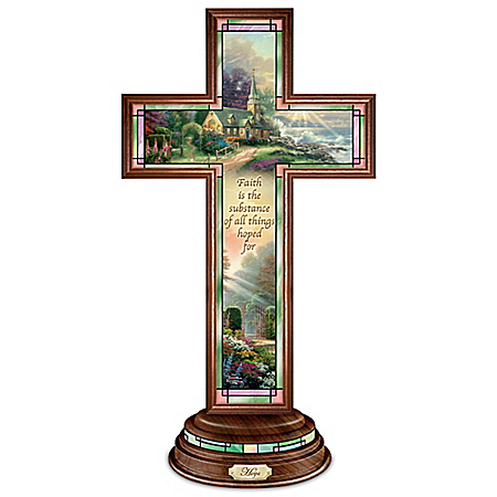 Hope Cross: Thomas Kinkade Illuminated Stained Glass-Style Hope Cross
