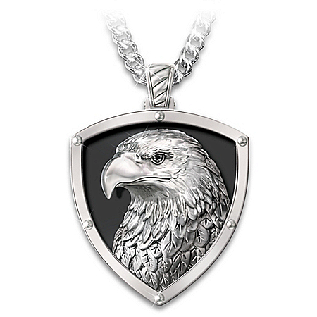 Strength And Pride Men's Stainless Steel Eagle Head Pendant Necklace