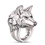 Leader Of The Pack Men's Stainless Steel Wolf Ring With Black Sapphires