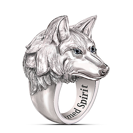 Wolf Head Mens Stainless Steel Ring with Black Sapphire Eyes and Engraving