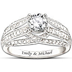 Personalized White Topaz Women's Ring - Always Loving You