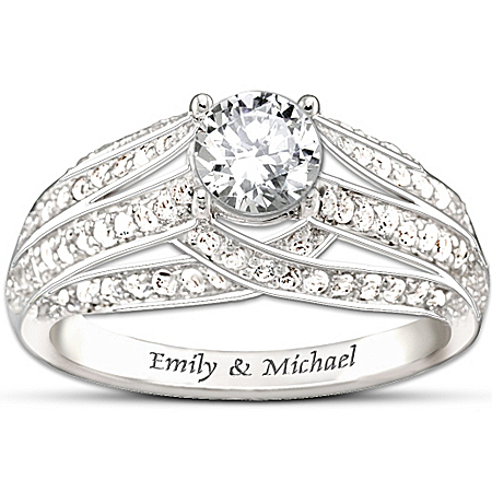 Personalized White Topaz Women's Ring: Always Loving You