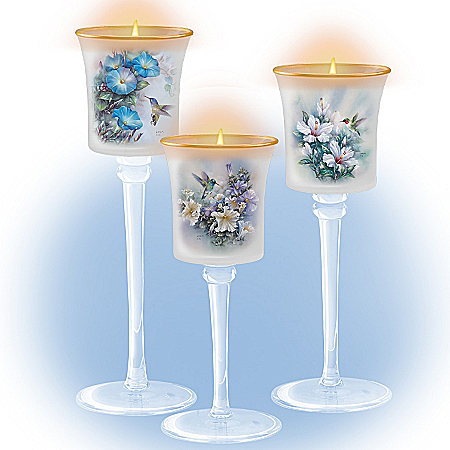 Lena Liu Plates Lena Liu Floral Art Hand-Blown Glass Candleholder Set: Glow Of The Garden